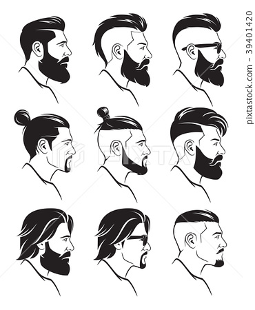 Set of silhouette bearded men faces hipsters style 39401420