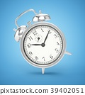 3D rendering metal alarm clock isolated on blue 39402051