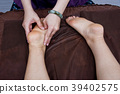 The physiotherapist is massaging the feet of a female client 39402575