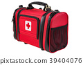 Modern portable doctor red bag isolated 39404076