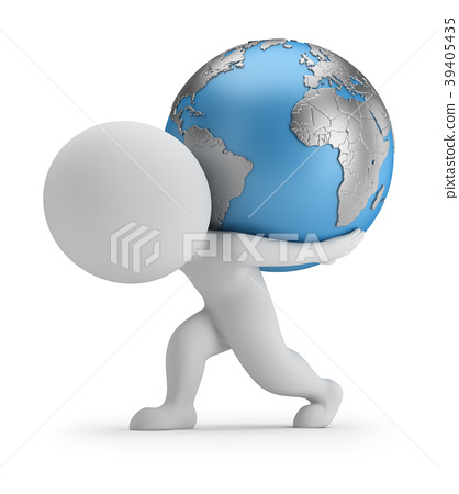 3d small person carries planet Earth. 3d image. Wh 39405435