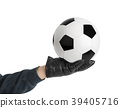 Goalkeeper hand and soccer ball 39405716