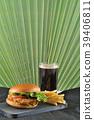 round hamburger with chicken cutlet  39406811