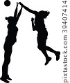 handball girl player silhouette 39407414