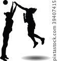 handball girl player silhouette 39407415