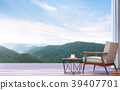 Lazy chair with mountain view 3d render 39407701