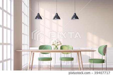 Vintage style dining room 3d render 39407717