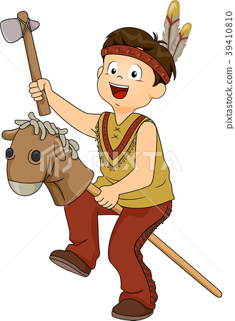 Kid Boy American Indian Toys Costume Illustration 39410810