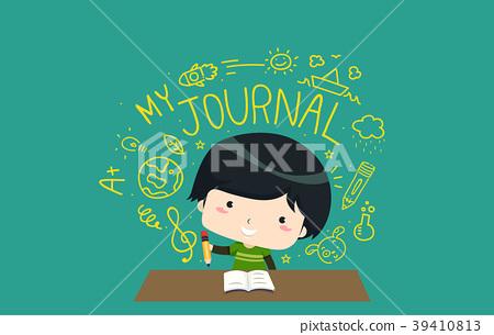 Kid Boy Creative Writing Journal Illustration 39410813
