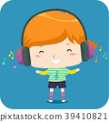 Kid Boy Listen Headset Music Illustration 39410821