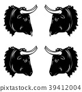 Stylized design of black bull head 39412004