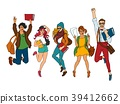Vector sketch young teen students jumping set 39412662