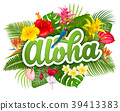 Aloha Hawaii lettering and tropical plants 39413383