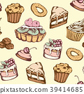 Seamless pattern with candies and cakes 39414685