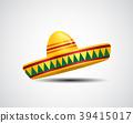 Naturalistic colorful sombrero on White Background 39415017