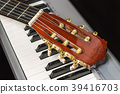 Guitar headstock on the piano keyboard 39416703