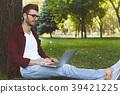 laptop, man, park 39421225