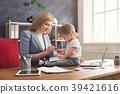 baby, businesswoman, laptop 39421616