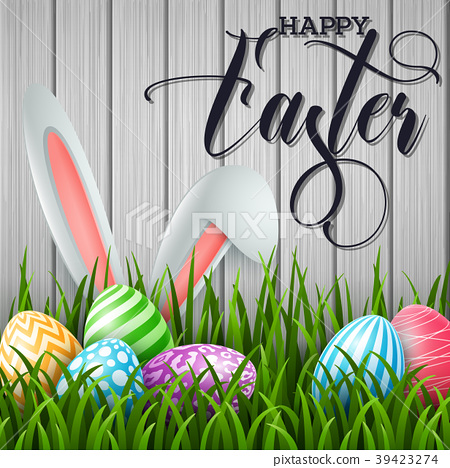Happy Easter background with colored eggs and ears 39423274