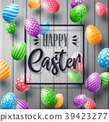 Happy Easter greeting card with colored eggs and f 39423277