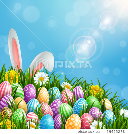 Happy Easter greeting card with colored eggs, flow 39423278