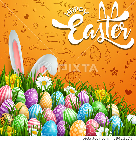 Happy Easter greeting card with colored eggs, flow 39423279