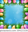 Happy Easter background with colored eggs and gras 39423336