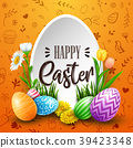 Happy Easter greeting card with colored eggs, flow 39423348