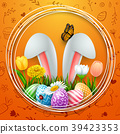 Easter round frame with colorful eggs, bunny ears, 39423353