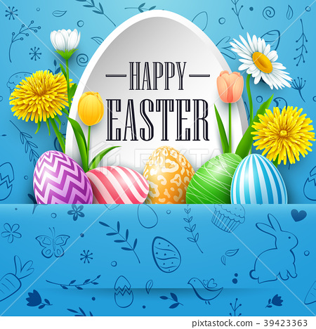 Happy Easter greeting card with colored eggs, flow 39423363