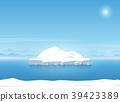 Iceberg floating in blue ocean. 39423389