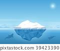 Iceberg floating in blue ocean. 39423390