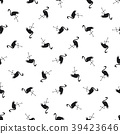 Seamless pattern with silhouette of a flamingo on  39423646