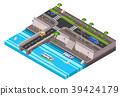 Vector isometric riverside embankment car roadway 39424179