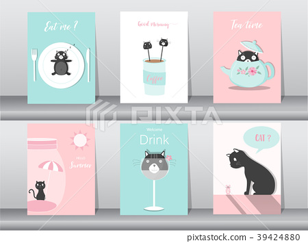 Set of cute animals poster,template,cards,cats 39424880