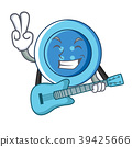 With guitar clothing button character cartoon 39425666