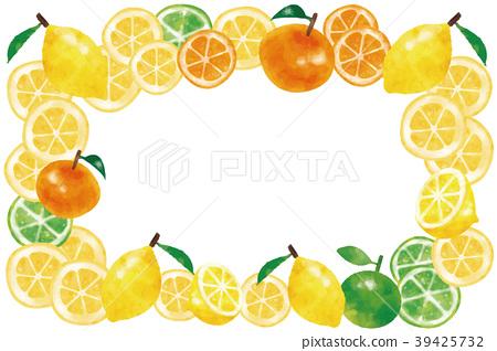 수채화 풍 레몬 · 오렌지 · 라임 프레임 39425732