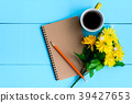 good morning notebook and coffee 39427653