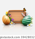 Easter greeting card with flowers, Easter eggs and 39428032