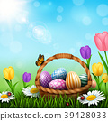Easter greeting card with a full basket of colorfu 39428033