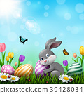 Easter greeting card with a little rabbit, colorfu 39428034