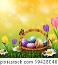 Easter greeting card with a full basket of colorfu 39428046