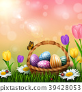 Easter greeting card with a full basket of colorfu 39428053