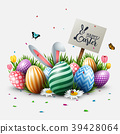 Easter greeting card with colorful eggs, flowers,  39428064