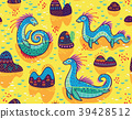 Vector seamless pattern with cute Loch Ness 39428512