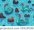 Vector seamless pattern with cute Loch Ness 39428586