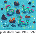 Cartoon Loch Ness Monsters and decorative hills in 39428592