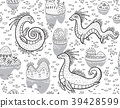 Contour seamless pattern with Loch Ness Monsters 39428599