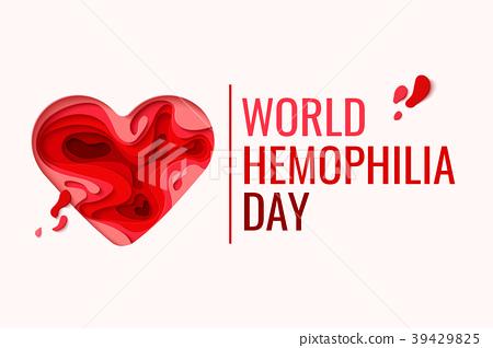 World Hemophilia Day - red paper cut blood heart 39429825