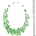 Oval wreath of parsley leaves and branches 39430204